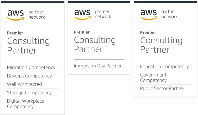 AWS Competency - Migration, DevOps, Digital Workplace, Storage, Education, Government, Public Sector, Well Architected, Immersion Day Partner